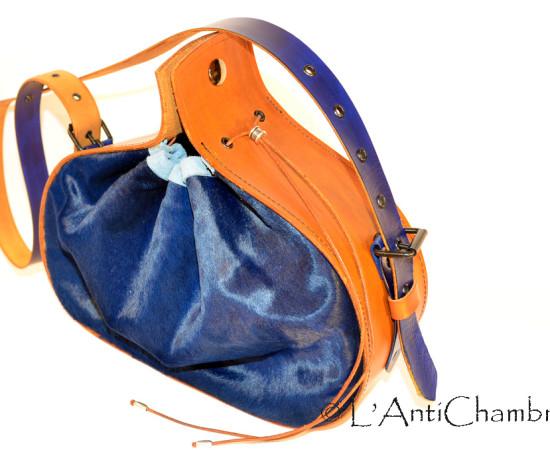 sac - medieval - cuir - chévre - bleu - marron - 1